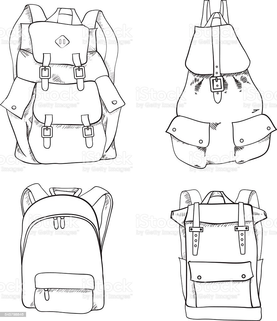 Hand drawn sketch outline backpack set isolated on white background векторная иллюстрация