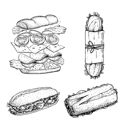 Hand drawn sketch sandwiches set. Submarine type sandwiches. Top and perspective view. Sandwich constructor. Flying ingredients. Fast food restaurant menu. Vector illustration.