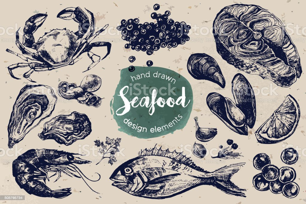 Esboço mão desenhada conjunto de frutos do mar - ilustração de arte em vetor