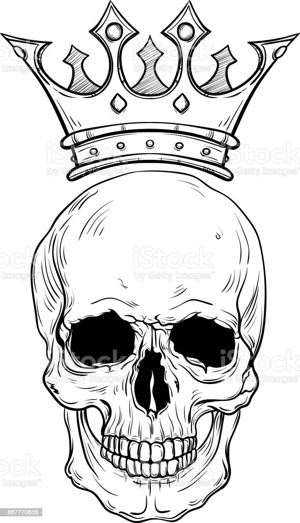 Hand Drawn Sketch Skull With Crown Tattoo Line Art Vintage Vector
