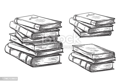 hand drawn sketch stack books isolated on white background vector