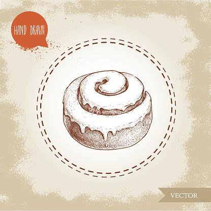 Hand drawn sketch style bakery goods illustration. Fresh iced cinnamon bun. Daily product.