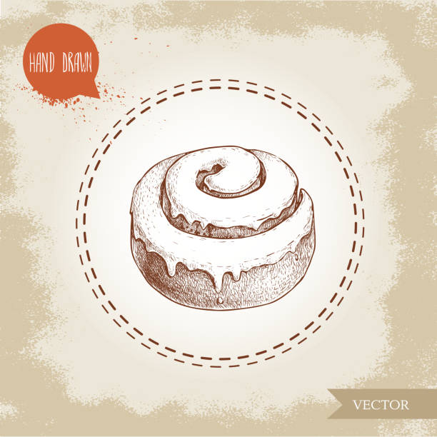 hand drawn sketch style bakery goods illustration. fresh iced cinnamon bun. daily product. - cinnamon roll stock illustrations, clip art, cartoons, & icons