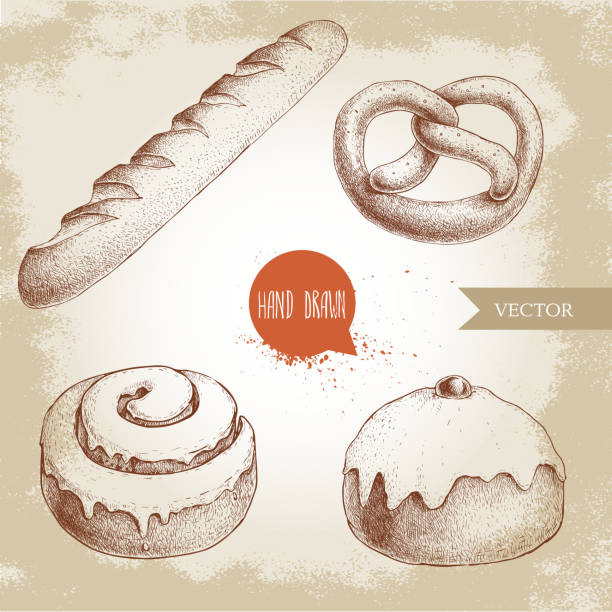 hand drawn sketch style bakery goods illustrations set. fresh salted pretzel, french baguette, iced cinnamon bun and iced bun with cherry. daily product. - cinnamon roll stock illustrations, clip art, cartoons, & icons