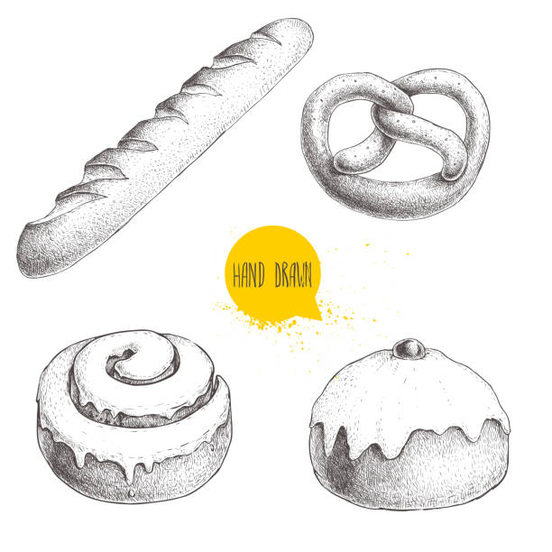 hand drawn sketch style bakery goods illustrations set isolated on white background. fresh salted pretzel, french baguette, iced cinnamon bun and iced bun with cherry. - cinnamon roll stock illustrations, clip art, cartoons, & icons