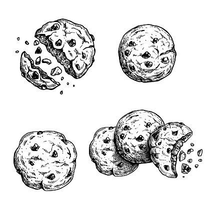 Hand drawn sketch style chocolate chip cookies set. Single whole and crumbled in group. Vintage retro ink style vector illustrations. For packages and menus. Isolated on white background.