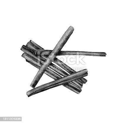 istock Hand drawn sketch style cinnamon sticks 1311325336