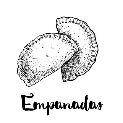Hand drawn sketch style empanadas. Typical Latino America and spanish fast food. Vector illustration isolated on white background. Best for menu designs, packages.