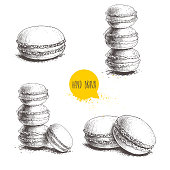 Hand drawn sketch style french pastry macarons set. Collection of sweet goods for menu design, restaurants and shops. Vector illustrations isolated on white background.