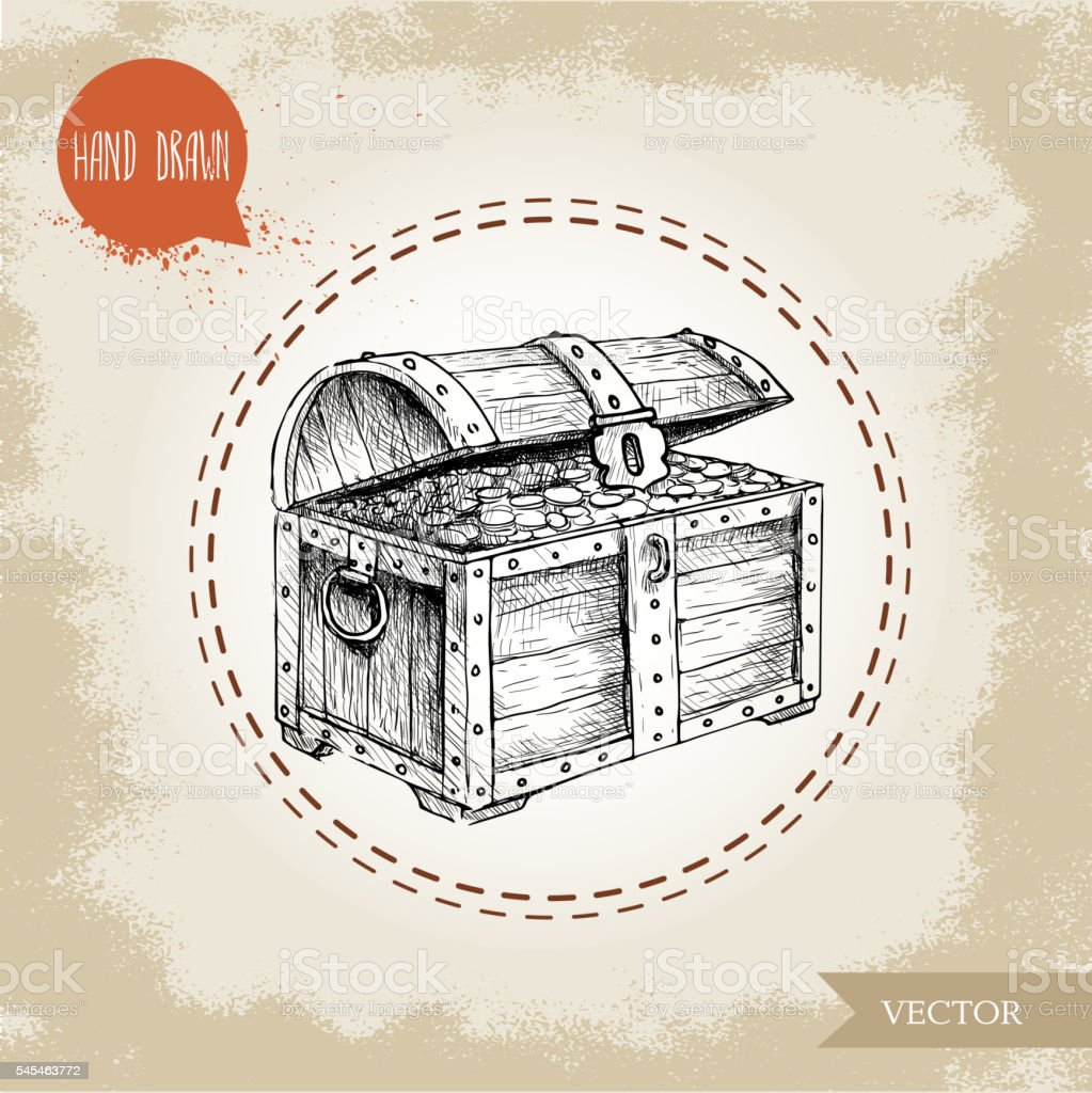 Hand drawn sketch style pirates treasure chest. vector art illustration