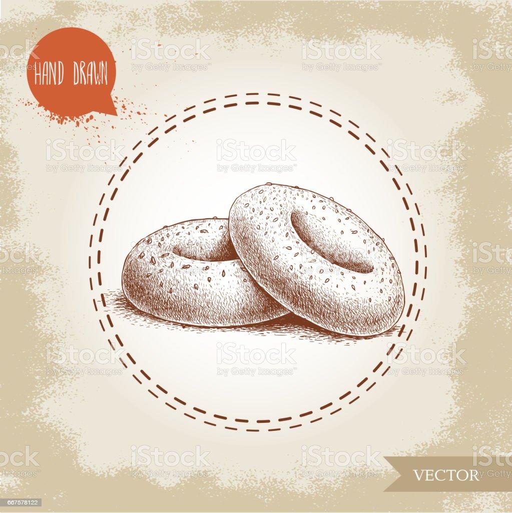 Hand drawn sketch style sesame bagels composition. Daily fresh bakery illustration. vector art illustration
