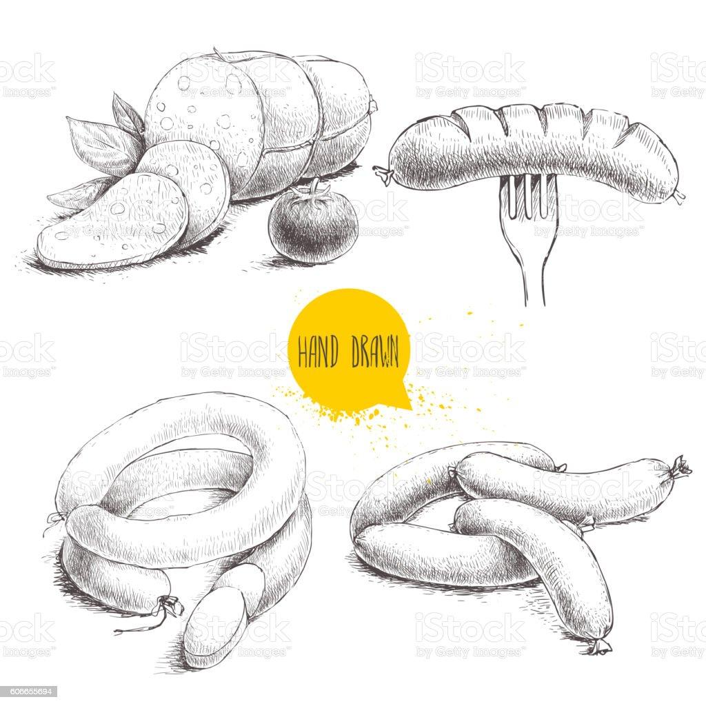 Hand drawn sketch type set of sausages. vector art illustration