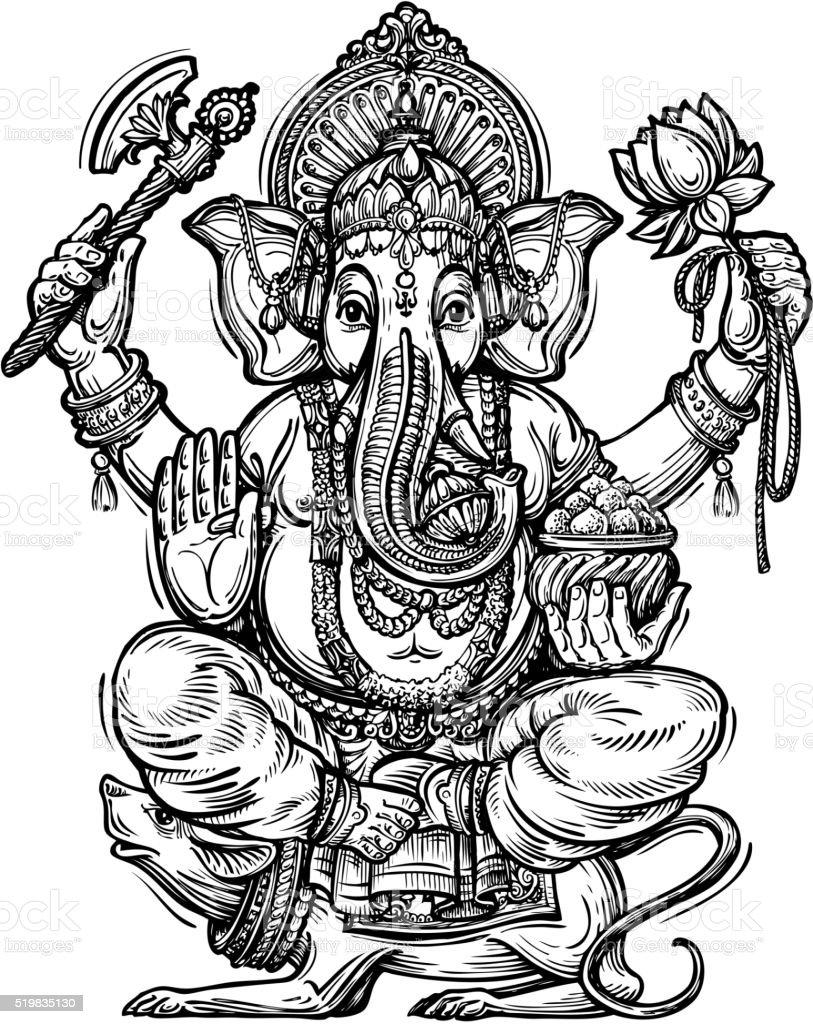 Hand drawn sketch vector illustration ganesh chaturthi illustration