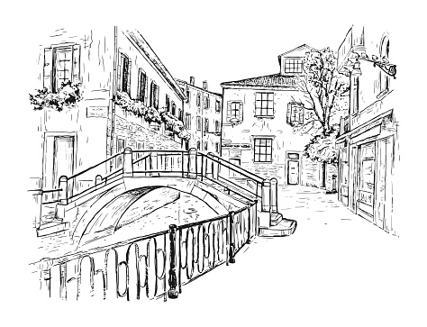Hand drawn sketch vector illustration of the streets of Venice, Italy. Water channel with a bridge. Romantic cityscape. Tourism Concept.