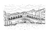 The Rialto Bridge and the Grand Canal in the morning, Venice, Italy