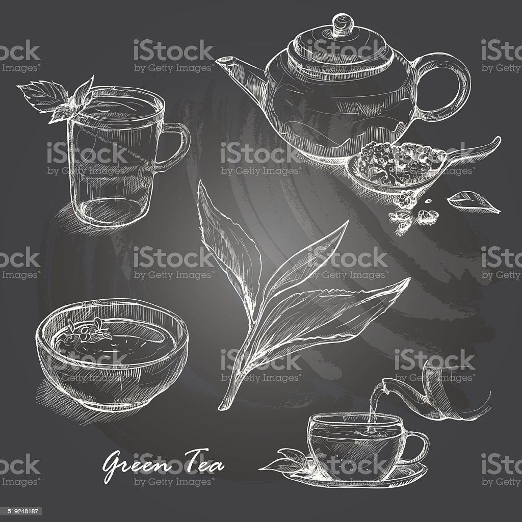 Hand drawn sketch vector tea set on blackboard. vector art illustration