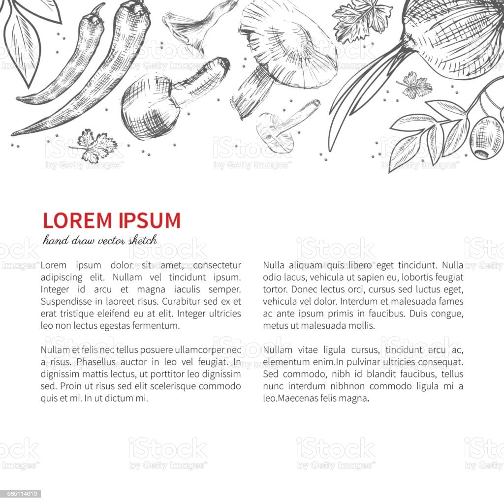 Hand drawn sketch vegetables, Vector illustration mushrooms, olive, pepper, onion isolated on white royalty-free hand drawn sketch vegetables vector illustration mushrooms olive pepper onion isolated on white stock vector art & more images of agriculture