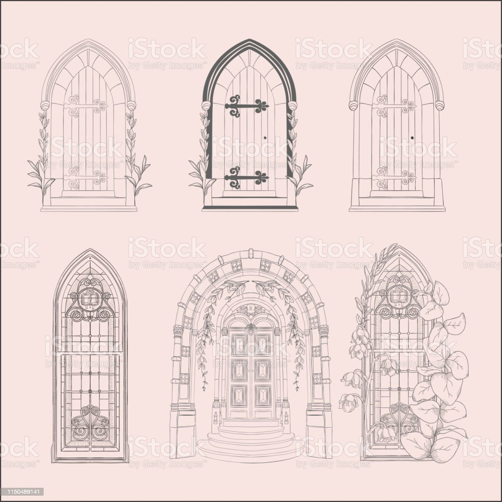 Hand Drawn Sketch Vintage Doors Gates Windows Set Stock