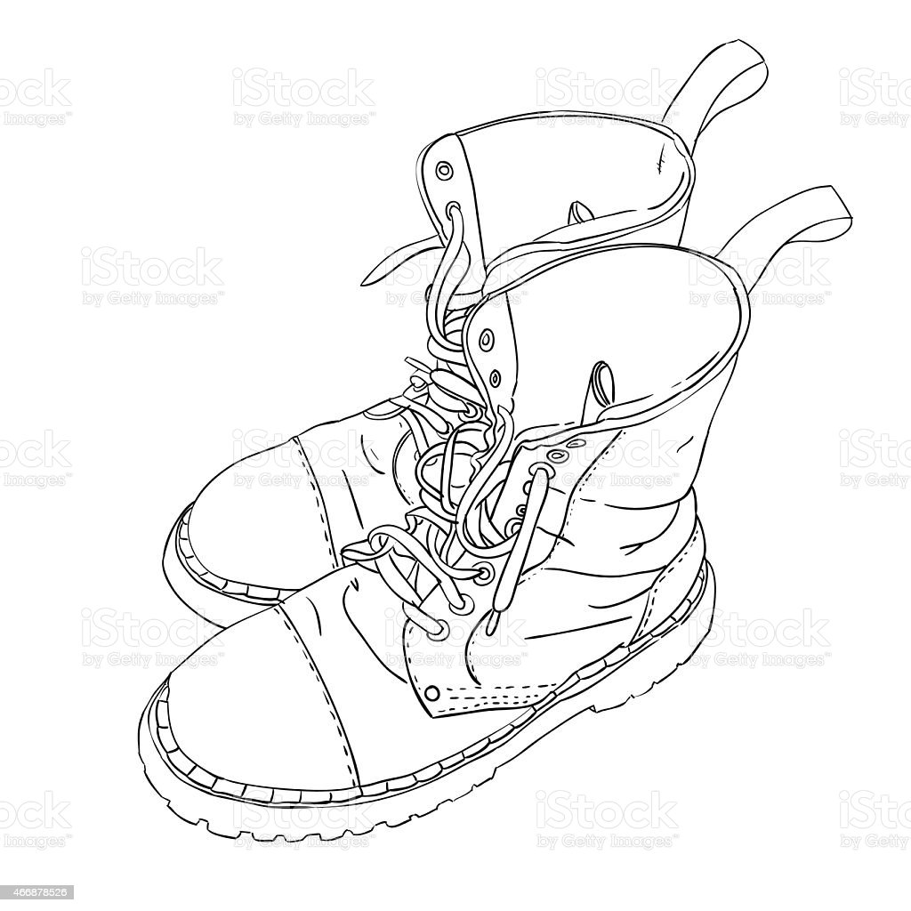 Hand drawn sketch with army boots vector art illustration