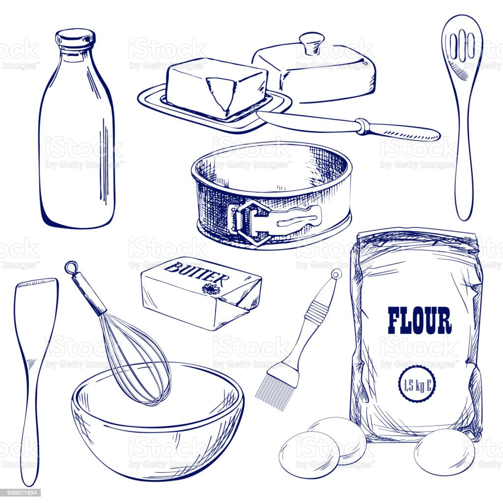 Hand drawn sketch with bread, pastry, sweet. Bakery set vector illustration vector art illustration