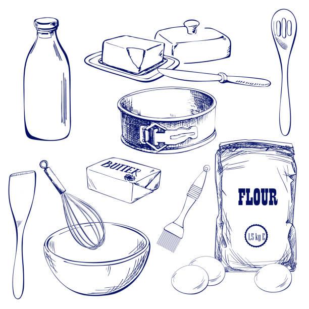 ilustrações de stock, clip art, desenhos animados e ícones de hand drawn sketch with bread, pastry, sweet. bakery set vector illustration - manteiga