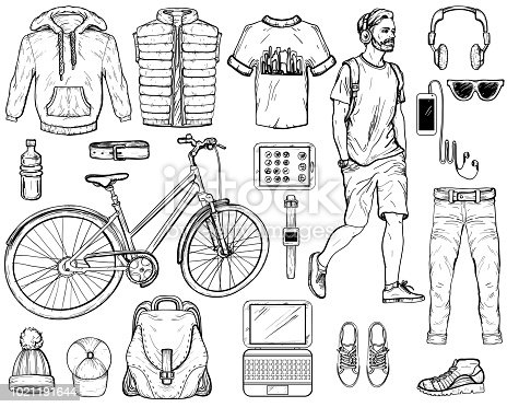 Hand drawn sketch of modern man Accessories. Vector illustration. Black and white