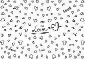 Hand drawn sketchbook Love&Hearts backround - Illustration