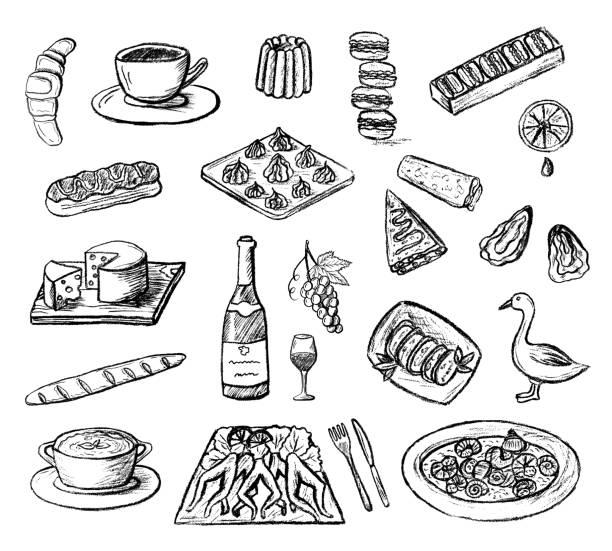 ilustraciones, imágenes clip art, dibujos animados e iconos de stock de dibujado a mano bosquejó los iconos de vector de cocina francesa. - comida francesa