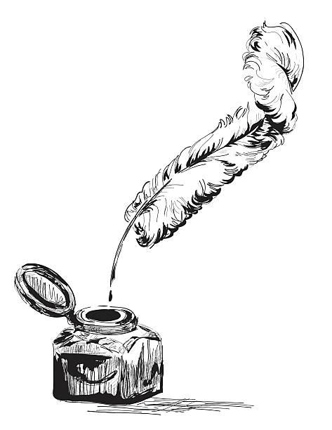 ilustrações de stock, clip art, desenhos animados e ícones de desenhado à mão animados garrafa de tinta e caneta de pena de pena - tinteiro