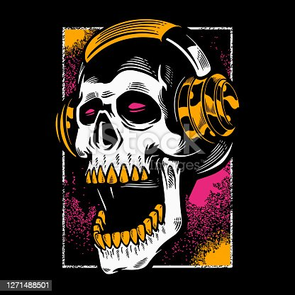 Hand drawn skull listening to music in headphones. Vintage dead head on dark color background. T- shirt design halloween theme. Print for clothes, posters, and other uses. Vector illustration