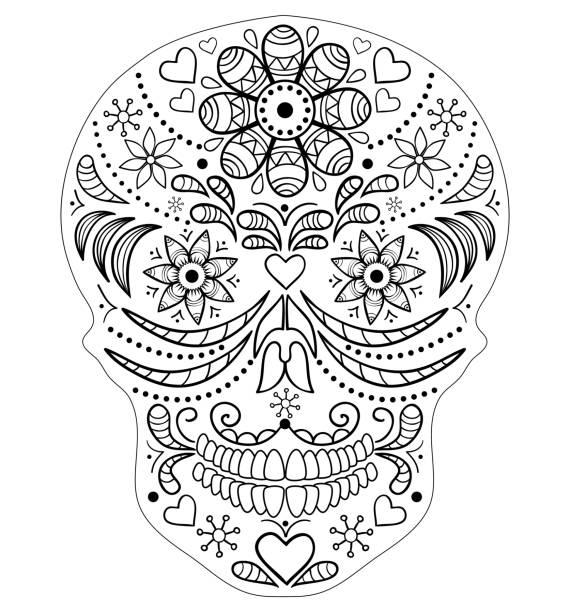 手描きのスカル - 花のボーダー点のイラスト素材/クリップアート素材/マンガ素材/アイコン素材