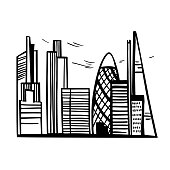 Hand drawn skyscrapers of London . Cityscape .background.Vector sketch illustration.