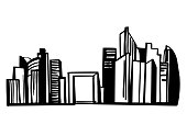 Hand drawn skyscrapers of Paris . Defense. Cityscape background.Vector sketch illustration.