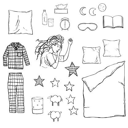 Hand drawn sleep set. Vector illustration.