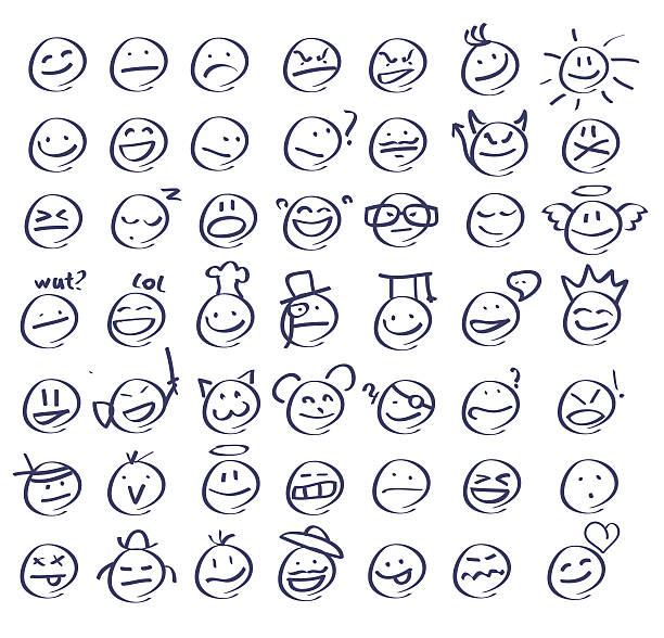 ilustraciones, imágenes clip art, dibujos animados e iconos de stock de gente sonriente dibujados a mano/emoticons - lágrimas de emoji alegre