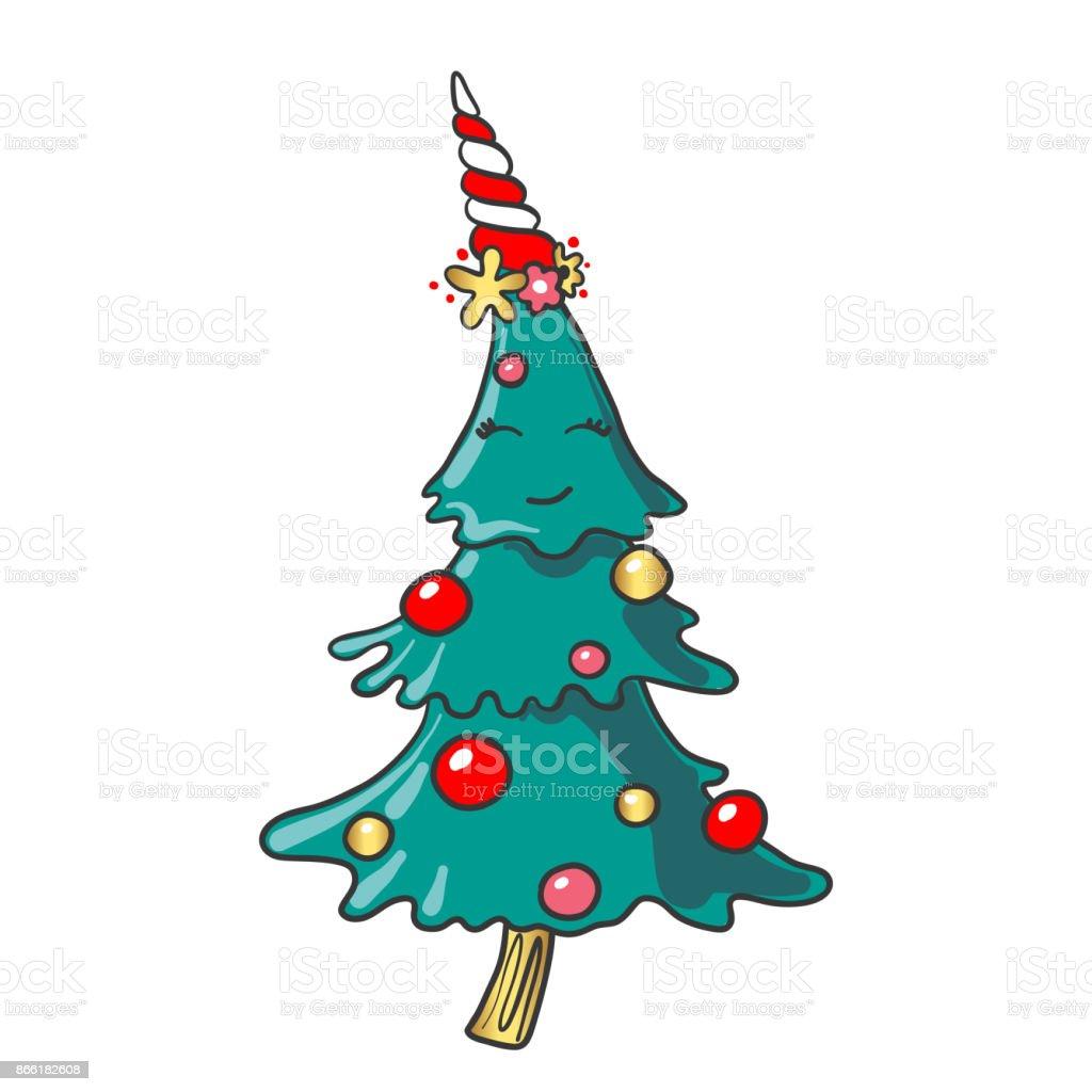 hand gezeichnet l chelnd cartoon weihnachtsbaum stock. Black Bedroom Furniture Sets. Home Design Ideas