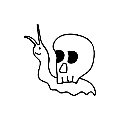 Hand drawn snail with a skull on its back. Goblincore print. Vector illustration in doodle style. Isolated on a white background.