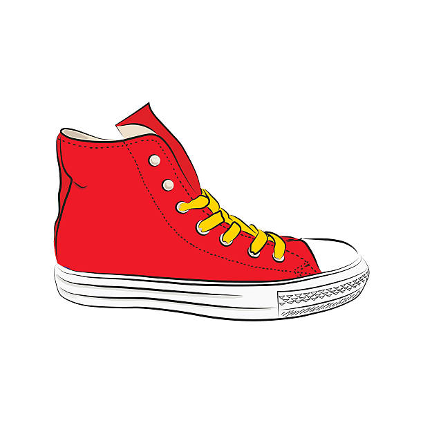 hand drawn sneakers, gym shoes. keds vector illustration - keds stock-grafiken, -clipart, -cartoons und -symbole