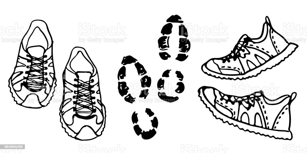 Hand drawn sneakers on white background. Run Concept. royalty-free hand drawn sneakers on white background run concept stock vector art & more images of athlete