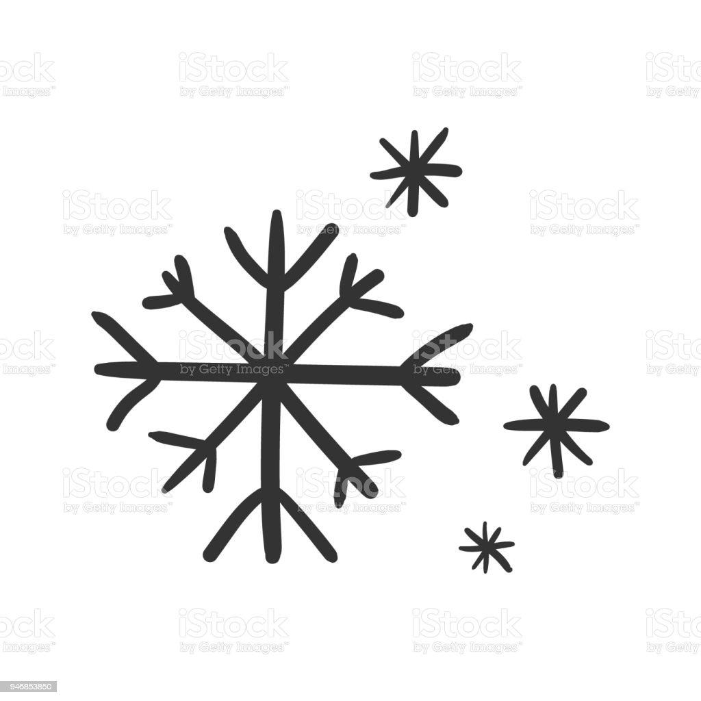 Main sur icône de vecteur de flocon de neige. Croquis de flocon de neige doodle illustration. Concept de Noël hiver dessinée à la main. main sur icône de vecteur de flocon de neige croquis de flocon de neige doodle illustration concept de noël hiver dessinée à la main vecteurs libres de droits et plus d'images vectorielles de art libre de droits