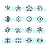 Vector illustration of a set of hand drawn snowflakes