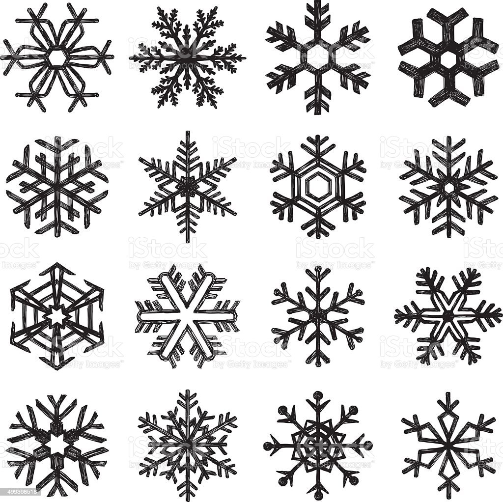 Hand drawn snowflakes stock vector art more images of