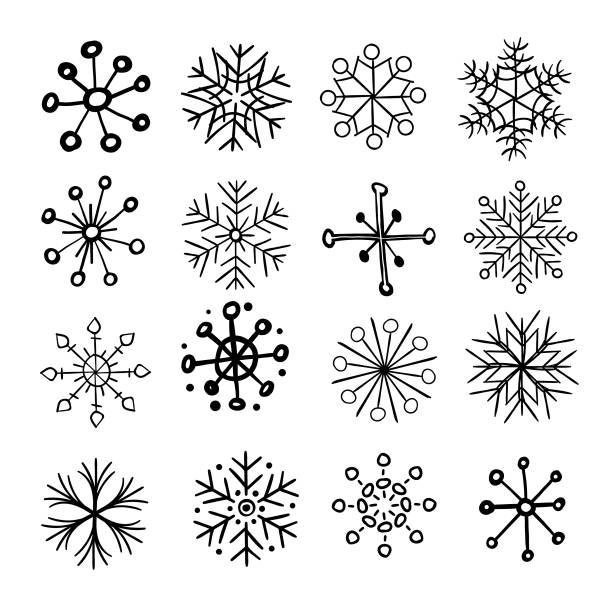 Hand drawn snowflakes Vector illustration of a set of hand drawn snowflakes christmas drawings stock illustrations