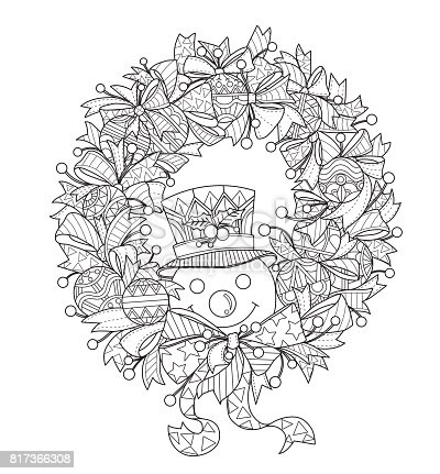 Hand Drawn Snowman And The Christmas Wreath For Adult