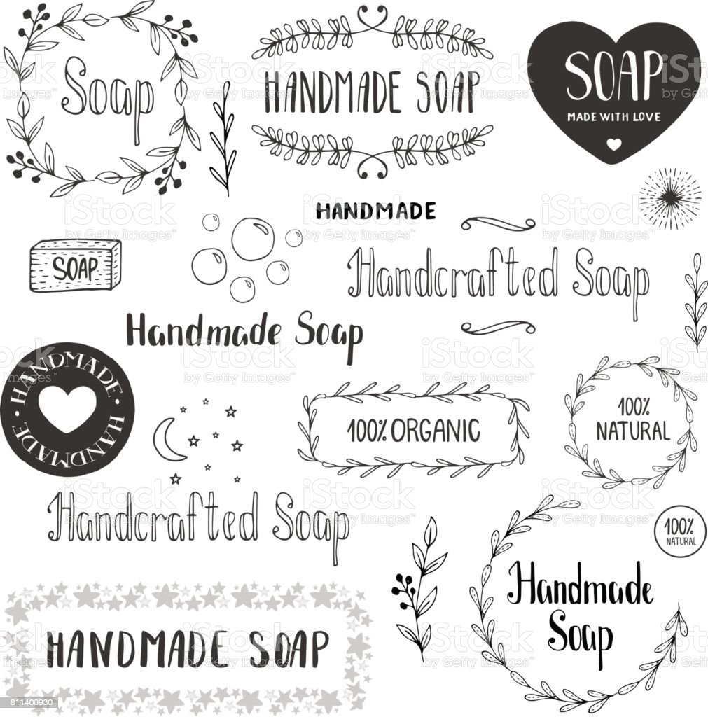 Hand drawn soap labels. Vector. Isolated. vector art illustration