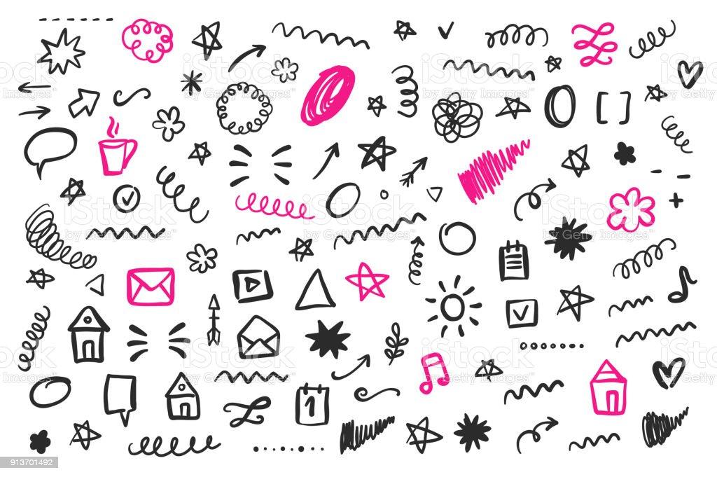 Gribouillis de médias sociaux dessinés à la main, isolés sur blanc - Illustration vectorielle