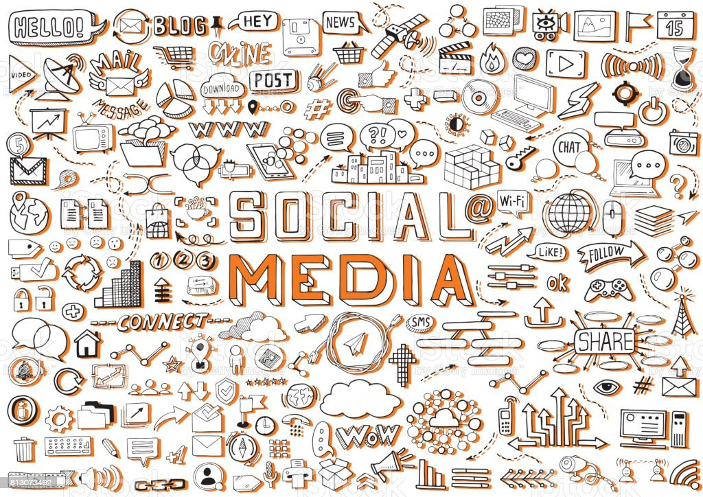 Hand Drawn Social Media Objects Set Collection Signs And Symbols