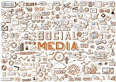 Hand Drawn Social Media Objects Set. Collection Signs and Symbols Doodles Elements.