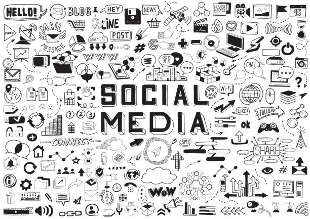 hand drawn social media objects set. collection signs and symbols doodles elements. black and white illustration. - bazgroły rysunek stock illustrations