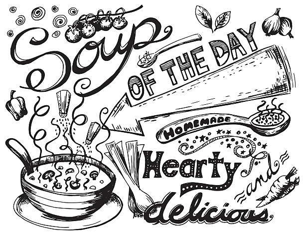 ilustraciones, imágenes clip art, dibujos animados e iconos de stock de dibujados a mano garabatos sopa - comida casera